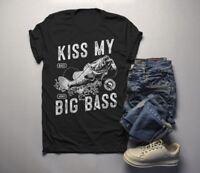 Men's Funny Fishing T-Shirt Kiss My Big Bass Vintage Fisherman Offensive Shirt