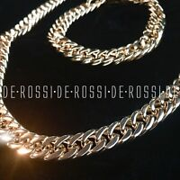 Solid 18K Gold P Double Cuban Link Chain Necklace Bracelet *LIFETIME WARRANTY*