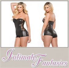 Womens Lace and Wet Look Cosplay Jumper Catsuit Sexy Outfit Size 10 12 14