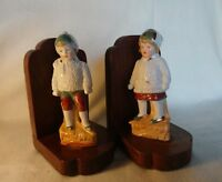 Vintage Bookends with Ceramic Boy and Girl in Victorian Costume