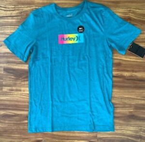 NWT Hurley Box Gradient Teal Short Sleeve T-shirt BOY'S XL 18-20