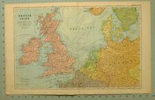 1922 Carte Îles Britanniques Écosse England Irlande Pays-Bas Belgique Danemark