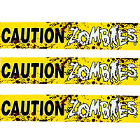 Haunted House Prop Bloody--CAUTION ZOMBIES--Warning Sign Fright Tape Decorations