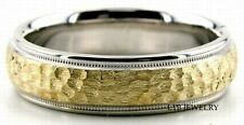 10K TWO TONE GOLD MENS WOMENS WEDDING BAND,HAMMERED 6MM SOLID GOLD WEDDING RING