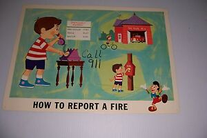 """1964 DISNEY FIRE PREVENTION POSTER HOW TO REPORT A FIRE 18""""X13"""" #100-B PINOCCHIO"""