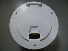 *NEW* RV WHITE ELECTRIC CABLE HATCH RV MOTORHOME MARINE CORD ROUND W/CABLE HOLD