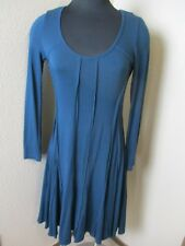 Vivienne Tam Rayon Long Sleeve Flare Dress Dark Teal Blue Size XS XSmall