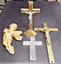 3 RARE Heavy Brass Antique Vintage Church Altar Cross Crucifix & ceramic cherub