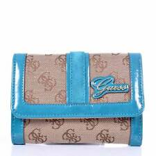 GUESS Portefeuille beige et turquoise 14 x 10 x 4 cm NEUF