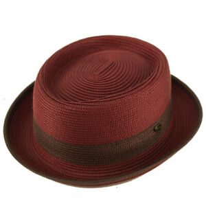 Men's Everyday 2tone Light Summer Porkpie Boater Derby Fedora Sun Hat