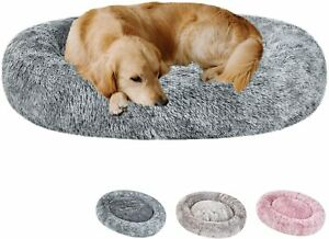 Oval Calming Donut Cuddler Dog Bed Shag Faux Fur Cat Bed Washable Round Pillow