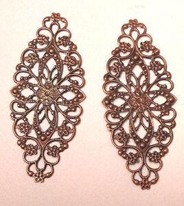 2 x 8x3.5cm ANTIQUE Rose Copper LARGE FILIGREE OVALS EMBELLISHMENTS Bendy Metal
