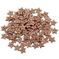 100Pcs 2 Agujeros DIY Estrella Botones Botón de Madera Costura 18mm Buttons
