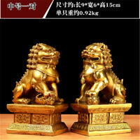 A Pair 6'' 1.8kg Chinese Fu Foo Dog Lion Statue Copper Feng Shui Evil Guardian