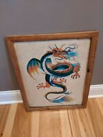 VINTAGE DRAGON ART FRAMED PAINTING 1983