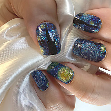 Starry night blue color real nail polish strips Zz13 street art wraps