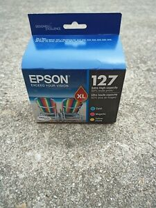 Epson 127XL Tri-Color Extra High Capacity Ink Value Combo Genuine NEW Made 2017