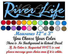 "River Life Decal Script with River ""R"" Sticker Fishing Fisherman Fish Car Auto"