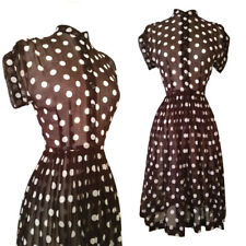 vintage 40s 50s polka dot NELLY DON shirt waist day dress sheer cotton pinup xs