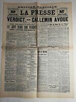 N222 La Une Du Journal La presse 27 février 1913 verdict callemin avoue