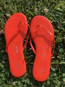 New! GAP Size 8 Leather Neon Orange Flip Flops Summer Sandals Beach Wear flat
