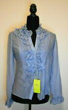 NWT Etro Light Blue Ruffle blouse Sz IT 40