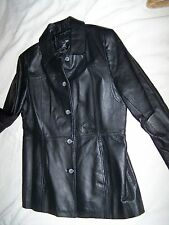 New EAST 5TH Black 100% Genuine Leather Trench Jacket XL Extra Large Coat