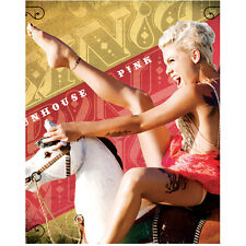 Pink Funhouse Riding Carousel Horse and Yelling 8 x 10 Inch Photo