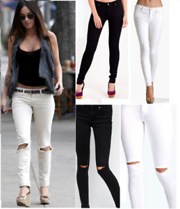 New Womens Ladies  Front & Back Skinny Stretch Jegging   Knee Cut Denim Jeans