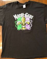 MARDI GRAS Parade Apparel MEN'S Black T SHIRT Fleur de Lis Purple Green Gold 2X