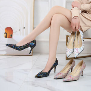 Sexy Casual Pointed Striped Colorblock Stiletto Heel Pumps Plus Size Women Shoes