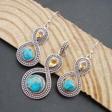 Arizona Blue Turquoise & Citrine 925 Solid Sterling Silver Pendant Earrings Set