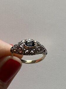 Antique Art Deco Gold Ring Sapphire Anello Oro Antico Argento Zaffiro