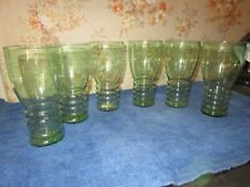 New Listing6 Vintage Drinking Glasses Clear Green With Ring Bases