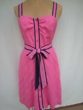"""LILLY PULITZER Pink - Navy Accent Button Front Swing Skirt 1"""" Strap Sundress Sz6"""