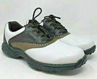 FootJoy Greenjoys 45402 Men's 9 Saddle Oxford Golf Shoes White Brown Leather