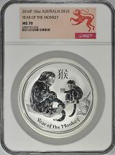 Australia 2016 P S$10 Silver Monkey 10 oz. Early Releases NGC MS70 Australian