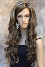 Long Chestnut Golden Brown Blonde mix curly Wig Side skin top Part JSOB 8-12-24