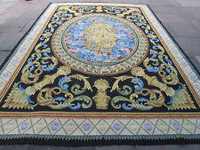 Old Hand Made French Design Wool Black Blue Original Aubusson 381X273cm
