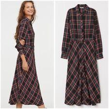 H&M LS PLAID BUTTON DOWN MAXI DRESS