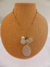 Vintage Style Gold Tone Chain with Rose Quartz Tassel Drop Necklace 40-47cm
