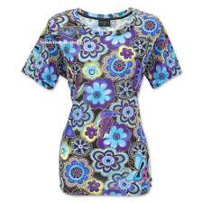 Laurel Burch Blue Multi-Floral T-Shirt Short Sleeve Scoop Neck Polyester New