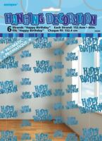 GLITZ BLUE 6 HANGING DECORATIONS HAPPY BIRTHDAY 1.5M/5' BIRTHDAY PARTY SUPPLIES