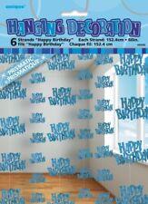 GLITZ BLUE 6 HANGING DECORATIONS HAPPY BIRTHDAY 1.5M/5' BIRTHDAY PARTY SUPPLIES