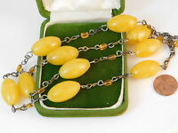 """Vintage Faux Butterscotch Yellow Amber Plastic Bead 28"""" Chain Necklace 7b 18"""