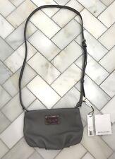 NWT Marc Jacobs Leather Crossbody Shoulder Bag Purse Gray Aluminum $198 M0011311