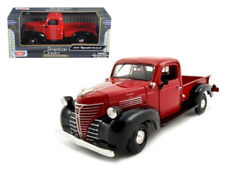1941 PLYMOUTH PICKUP TRUCK RED & BLACK 1/24 SCALE DIECAST CAR MODEL BY MOTOR MAX