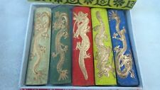 Asia old 5 colours Carved dragon chinese solid calligraphy Painting ink stick