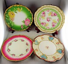 4 Assorted Limoges Elite French & T&V Porcelain Cabinet Plates - Floral, Gold,