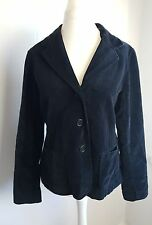 Boden Smart Black Velvet Velour Button Up Smart Casual Jacket Coat Size 16